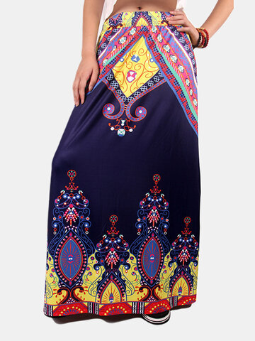 Folk Style Print High Waist A-line Women Maxi Skirts
