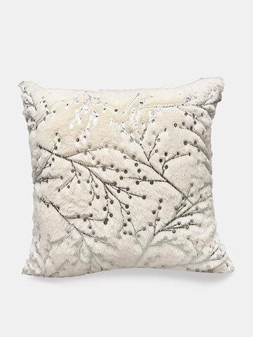 Nordic Style Silver Branch White Plush Pillow Car Office Nap Pillow Sofa Cushion Cover