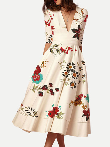 Print Deep V-neck Dress