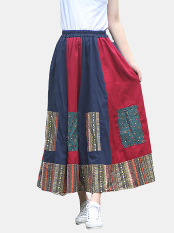 Cotton and linen national wind stitching large swing skirt