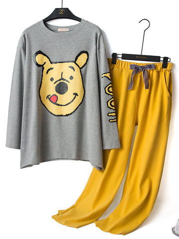 Cotton Cartoon Dog Print Pajamas