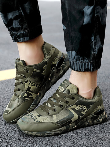 Camouflage Microfiber Leather  Cushioned Sneakers