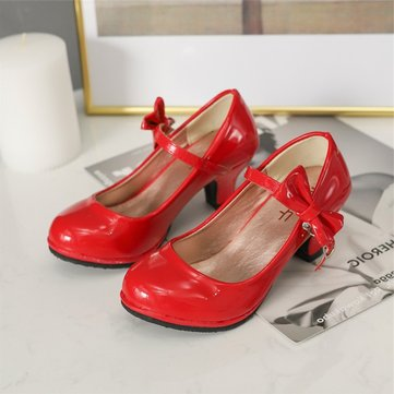 Girls Bowknot Solid Color Dress Shoes