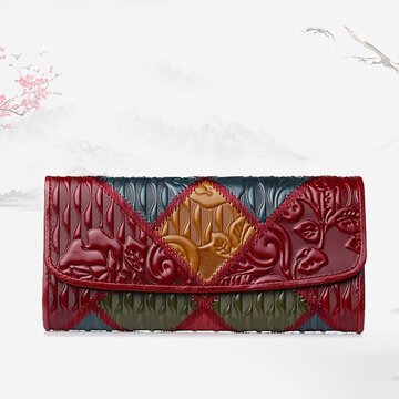 Patchwork Oil Wax Genuine Leather Vintage Flower Wallet