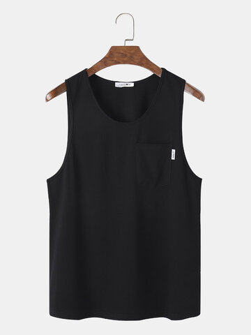Solid Color Chest Pocket Sleeveless Casual Tank Top