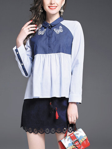 TangJie Embroidery Patchwork Turn-Down Collar Women Shirts