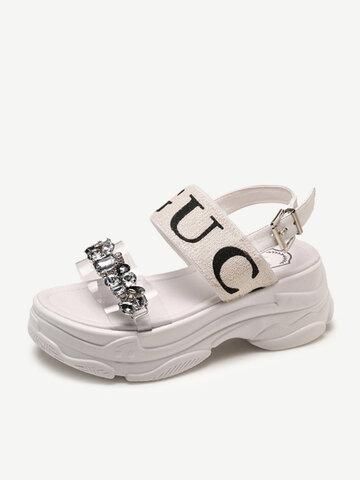 Women Waterproof  Platform Rhinestone Casual Sandal