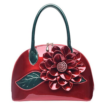 Brenice National Style Leather Rose Decoration Shell Bag