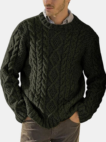 Pure Color Cable Knit Sweaters