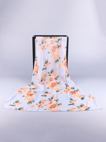 Women Oversize Chiffon Rose Print Shawl Outdoor Sunscreen Windproof Beach Towel Casual Scarves