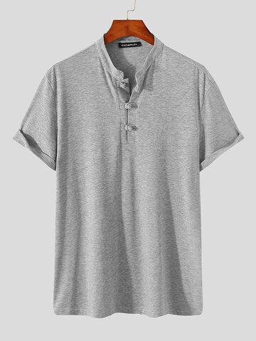 प्लस साइज मेंढक बटन हेनले शर्ट्स Shi