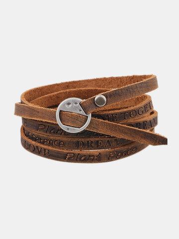 Punk Leather Words Bracelet