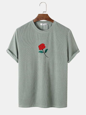 Rose Embroidery Knitted T-Shirt