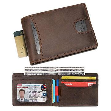 RFID bloquant le portefeuille de poche avant minimaliste en cuir véritable
