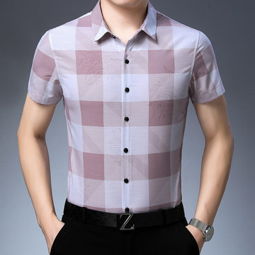 Short-sleeved Shirt Men's Middle-aged Half-sleeved Printed Non-iron Shirt Fashion Plaid Men's Clothes