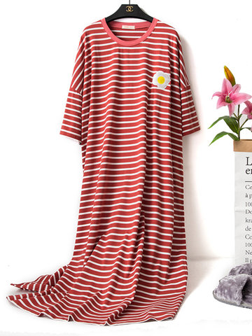 Cotton Striped Embroidery Home Sleepwear