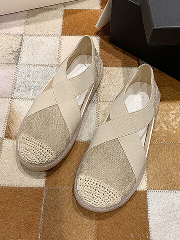 Lace Woven Cross Strap Loafers Shoes