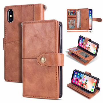 Women Solid Multi-function Phone Case For Iphone 4 Card Slot, Brown red blue