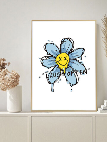 1PC Unframed Cartoon Smile Flower Letters Pattern DIY Canvas Painting Wall Art Canvas Living Room Home Decor Wall Pictures