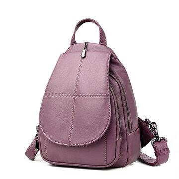 Women PU Leather Backpack Dual-use Retro Shoulder Bag