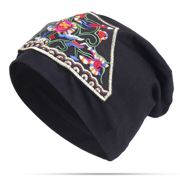 Women Ethnic Embroidery Flowers Beanie Hat