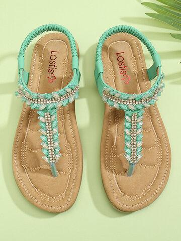 Rhinestone Comfy Elastic Beach Sandals