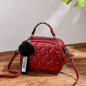 Women Casual Lingge Double Zipper Crossbody Bag
