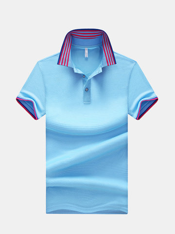 Colletto stampato a righe Casual Golf Camicia