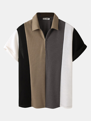 Plus Size Patchwork Knitted Golf Shirt