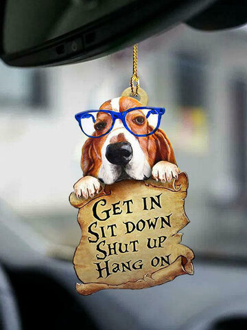 1 PC Animal Lover Two Sided Ornament Auto Accessory Puppy Ornaments Lover Gifts Funny Car Hanging Decor Available for Many Dog Breeds