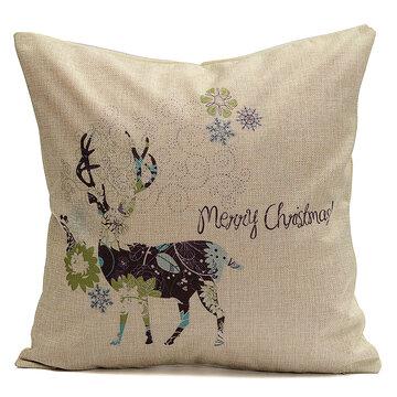 Christmas Elk Deer Cotton Linen Throw Pillow Case Cushion Cover Home Decor
