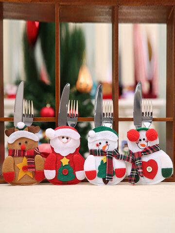 1Pc Merry Christmas Knife Fork Cutlery Set Skirt Pants Navidad Natal Dining Table Christmas Decorations For Home Xmas