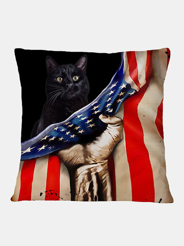 Black Cat And American Flag Pattern Linen Cushion Cover Home Sofa Art Decor Throw Pillowcase