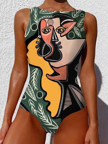 Green-Personalized Abstract Print One Piece