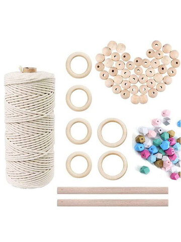 A Set Of Natural Wood Beads Ring Rod Cotton Thread Set Kids DIY Wooden Jewelry Making Crafts Dream Catcher Tassels Accessories