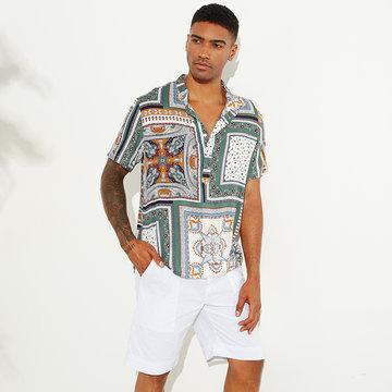 Estilo Étnico Vintage Impresso Solto Henley Camisa