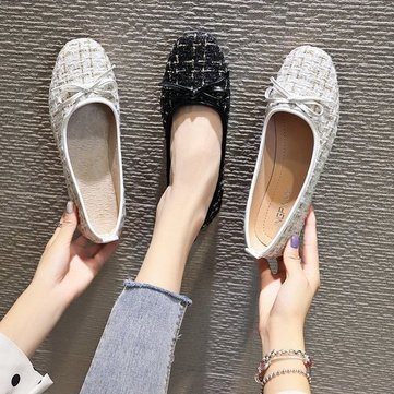 New Season Square Head Shallow Mouth Bow Single Shoes Female Flat Bottom Ballet Wild Shoes