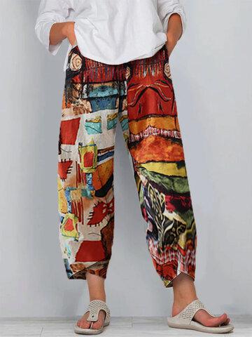 Vintage Printed Split Elastic Waist Pants