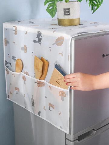 Household Refrigerator Cover Cloth Dust Cover Refrigerator Storage Bag Transparent Waterproof Refrigerator Cover