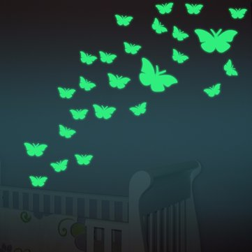 12PCS LuminousFluorescent Wall Stickers Butterfly Decal Baby Kids Bedroom Home Decor