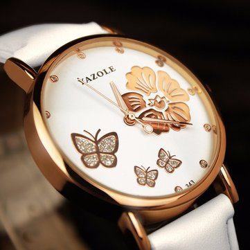 Fashion Butterfly Flower Dial Watch