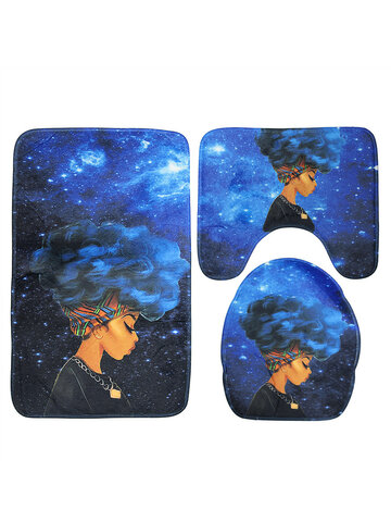 3PCS Waterproof Toilet Seat Cover Set African Girl with Non-Slip Pedestal Rug + Lid Toilet Cover + Bathroom Bath Mat Doormat Set for Home Kitchen Decor