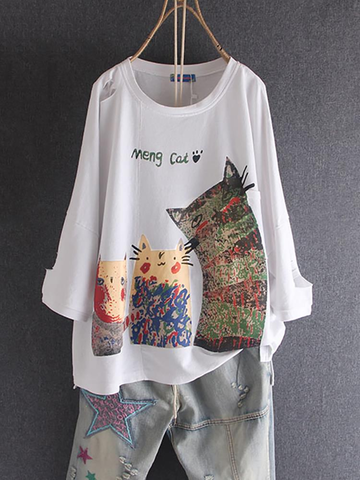 Cartoon Print 3/4 Sleeve T-Shirt