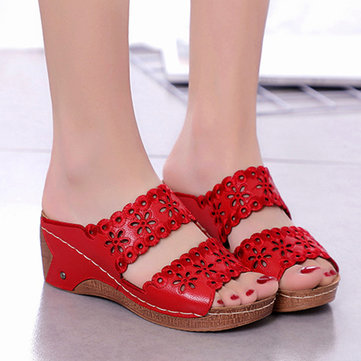 Casual Flowers Hollow Peep Toe Sandals