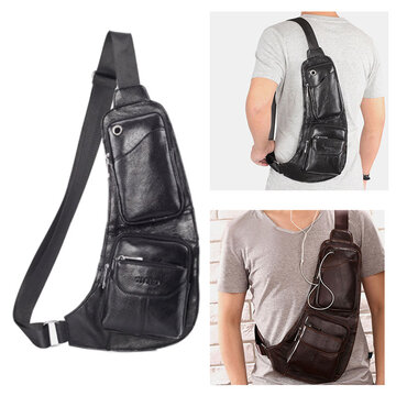 Men Solid Genuine Leather Crossbody Bag