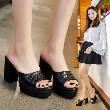 Season New European Station Open Toe Sandals Fish Mouth Thick With High Heel Comfortable Female Slippers Word Female Sandals And Slippers