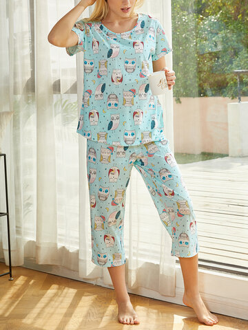 All Over Cartoon Owl Graphics Pajamas