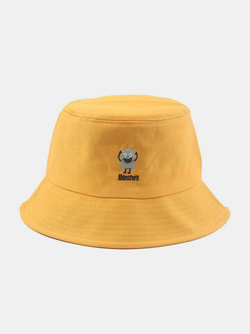 Men & Women Cotton Cartoon Embroidery Bucket Hat