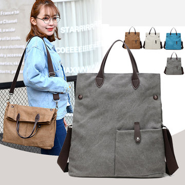 Women Canvas Dual-use Handbag Rucksack Shoulder Bag Shopping Bag Satchel Bag
