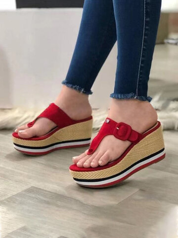 Casual Clip Toe Wedges Sandals